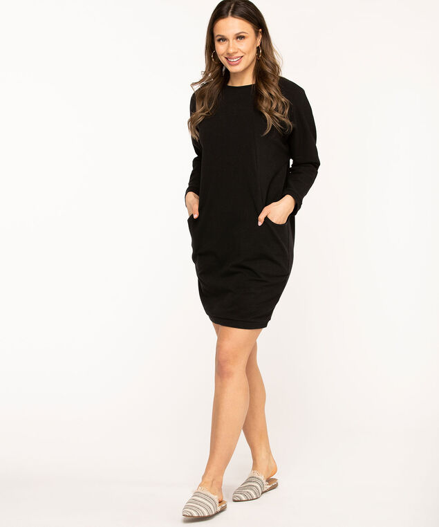 Dolman Sleeve Cocoon Dress, Black