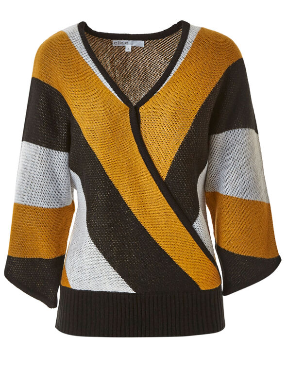 Ochre Striped Wrap Pullover Sweater, Mustard/Black/White, hi-res