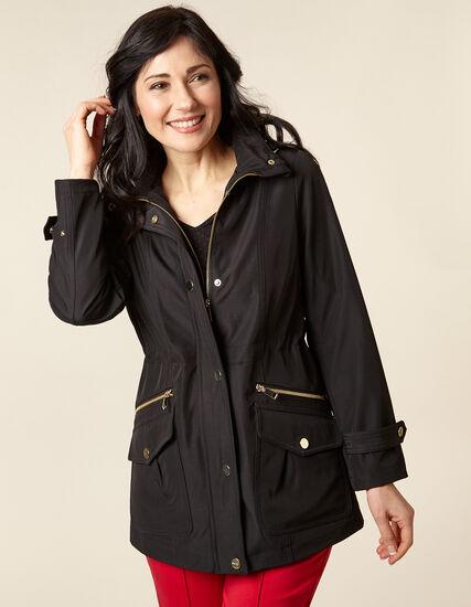 Black Anorak Coat, Black, hi-res