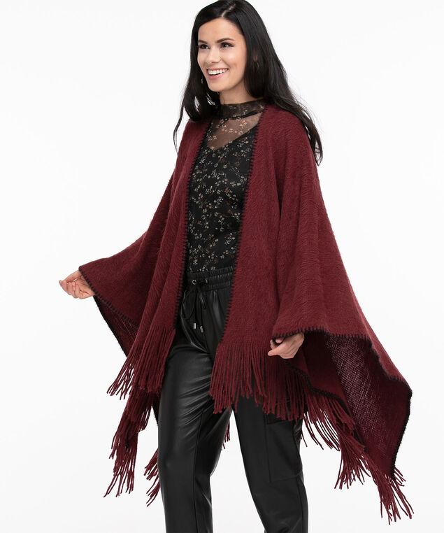 Super Soft Blanket Stitch Wrap, Oxblood/Black
