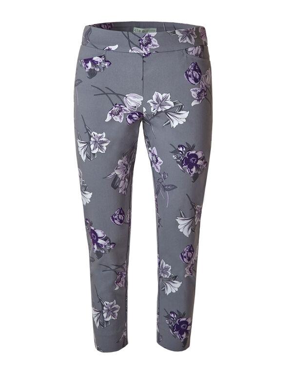 Light Grey Floral Ankle Pant, Light Grey, hi-res