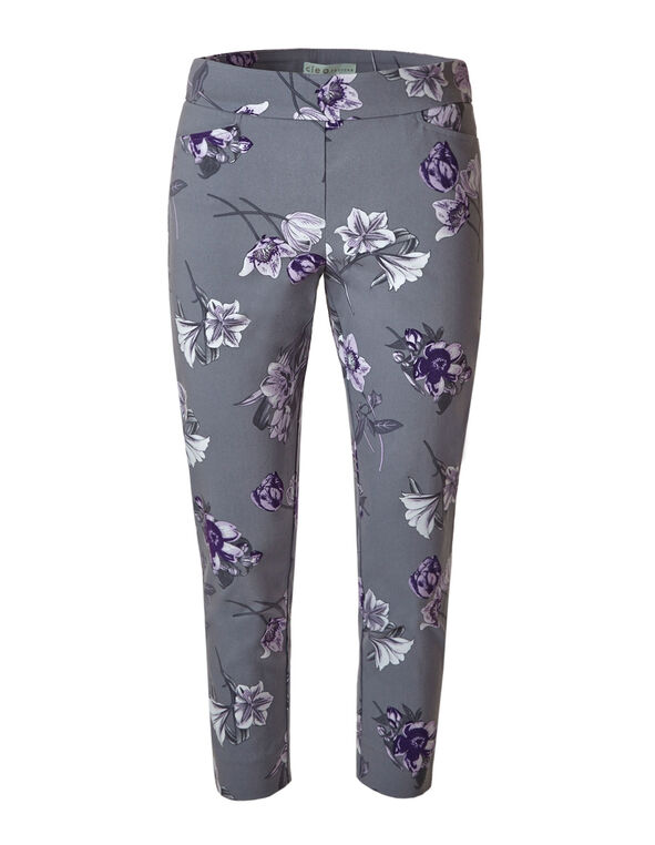Light Grey Floral Ankle Pant, Light Grey, hi-res