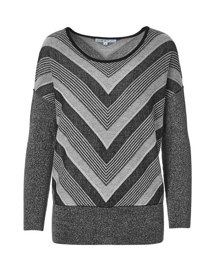 Silver Dolman Sleeve Sweater, Silver/Black, hi-res