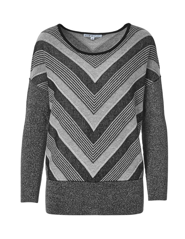 Silver Dolman Sleeve Sweater, Silver/Black, hi-res