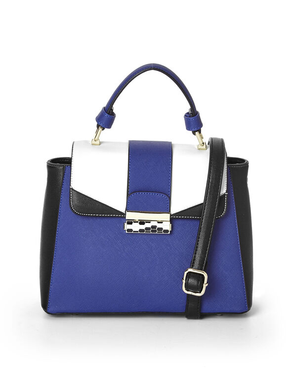 Blue Colour Block Satchel, Blue, hi-res