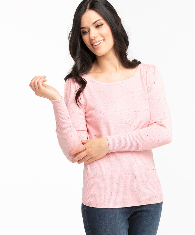 Recycled Boat Neck Pullover Sweater, Soft Pink Speckle