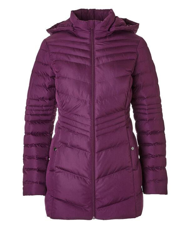 Raspberry Short Chevron Coat, Raspberry, hi-res