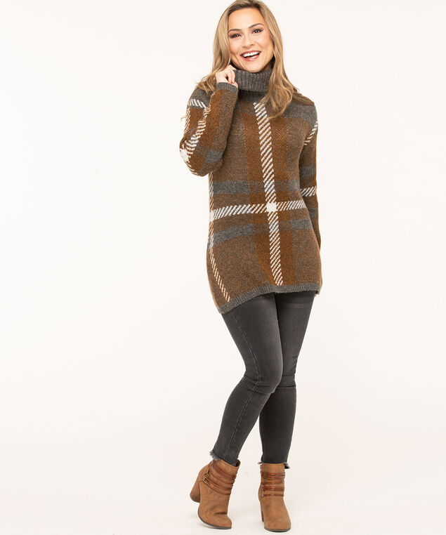 Charcoal Plaid Turtleneck Sweater, Charcoal/Brown/Ivory, hi-res