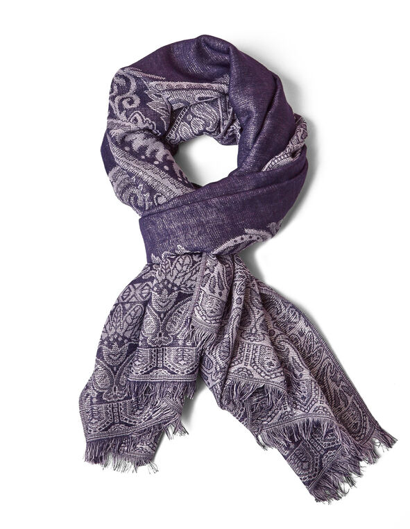 Purple Reversible Pashmina Scarf, Purple, hi-res