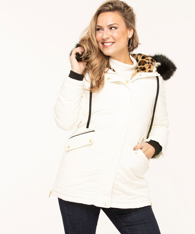 Hooded Faux Down Zipper Parka, Ivory