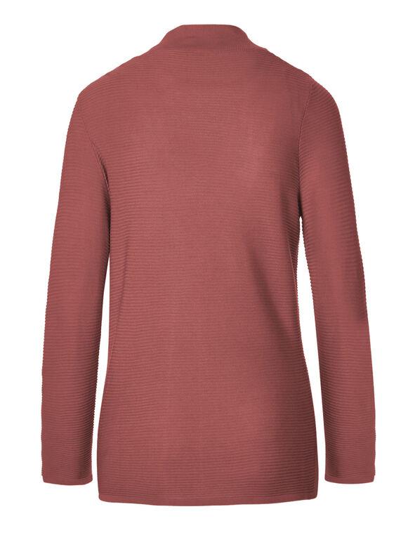 Pink Ottoman Mid Length Cardigan, Medium Pink, hi-res