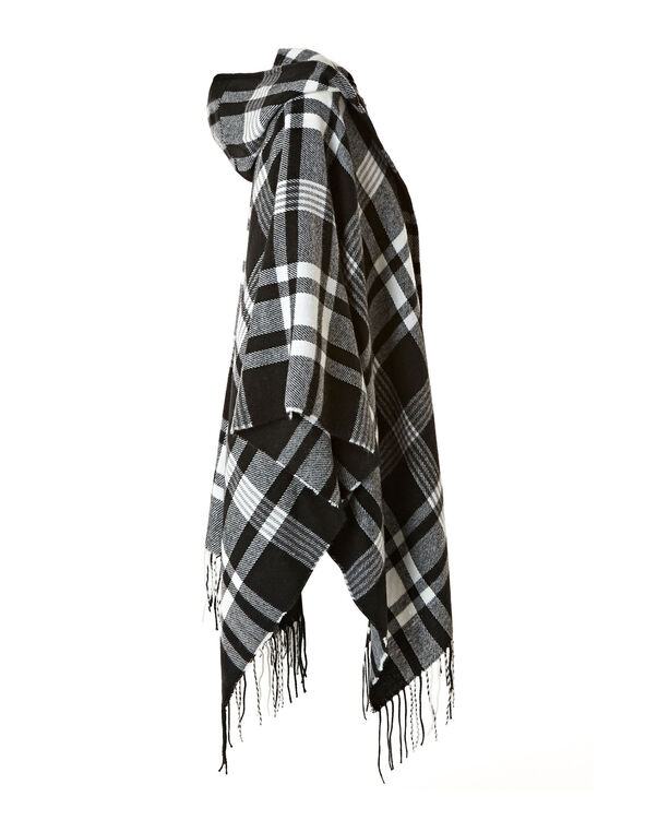 Black Plaid Hooded Wrap, Black, hi-res