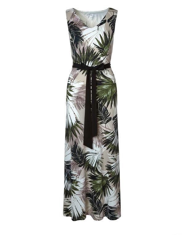 Neutral Palm Printed Maxi Dress, Neutral, hi-res