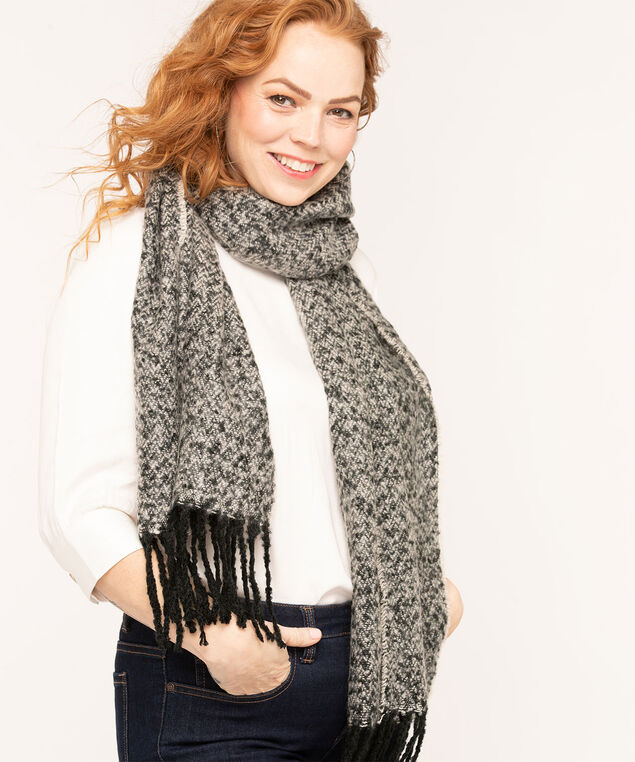 Charcoal Mix Fringe Trim Scarf, Charcoal Mix