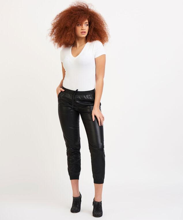 Dex Faux Leather Jogger Pant, Black