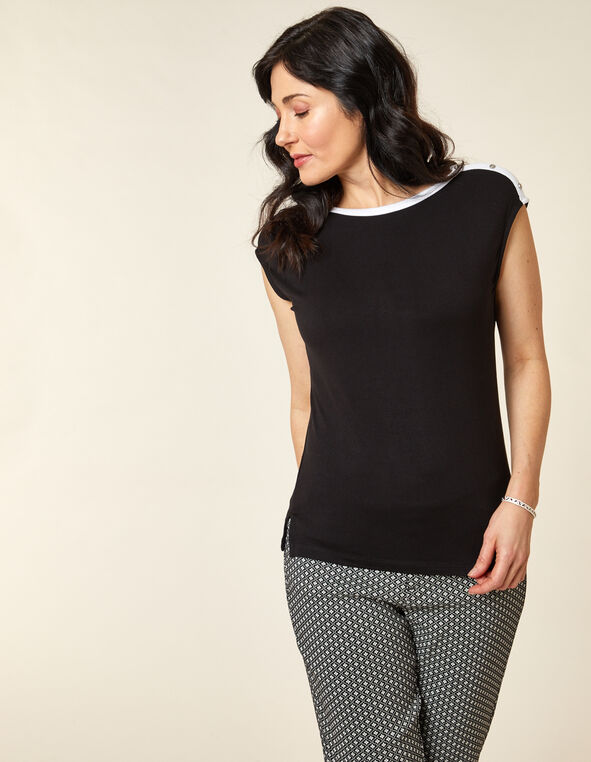 Black Button Detail Top, Black, hi-res