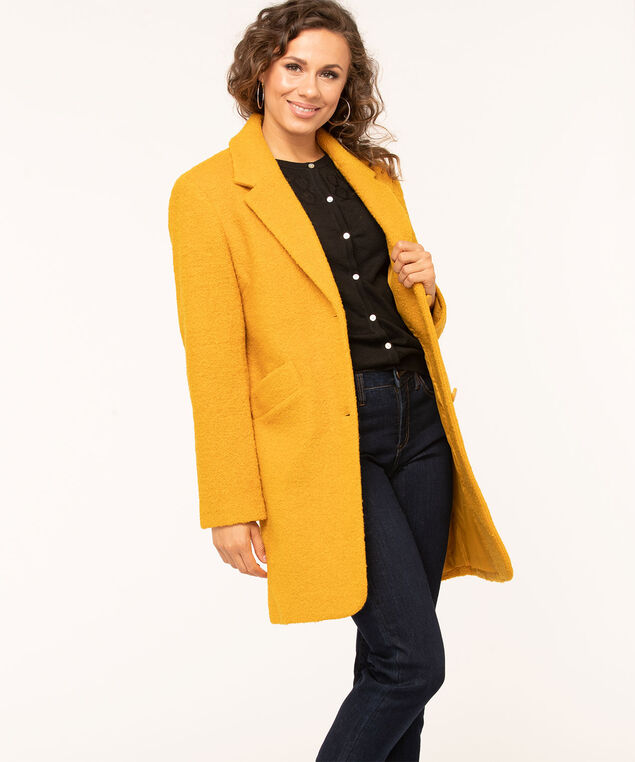 Gold Bouclé Notch Collar Coat, Gold