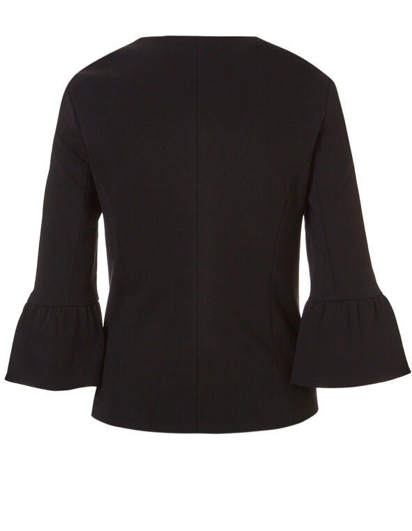 Black Open Front Blazer, Black, hi-res
