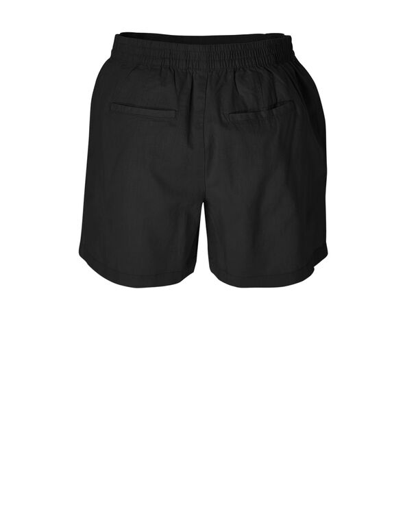 Black Linen Cotton Blend Short, Black, hi-res
