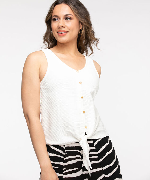 Ivory Tie Front Top, Ivory