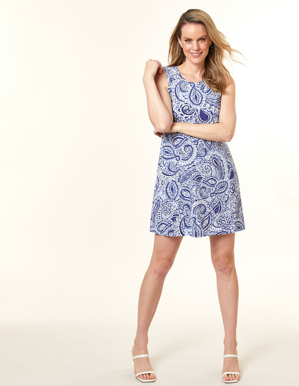Navy Paisley Sheath Dress, Navy, hi-res