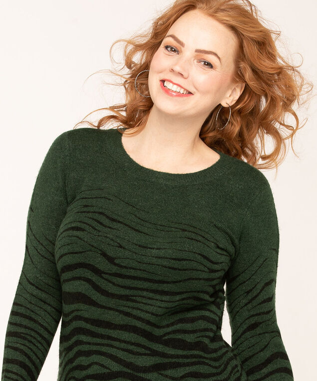 Forest Green Zebra Print Sweater, Forest Green/Black