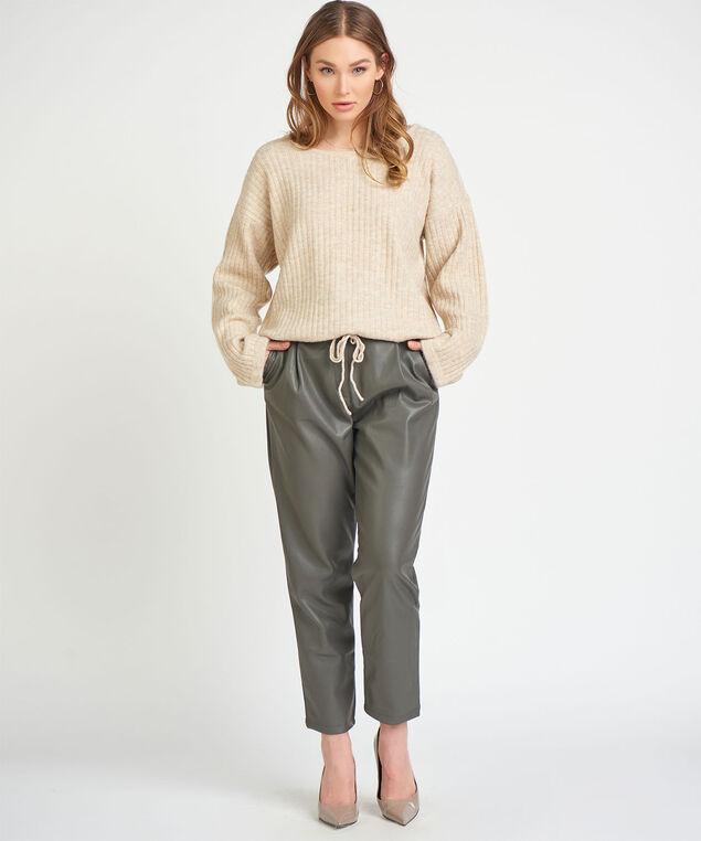 Dex Black Tape Slider Hem Sweater, Oatmeal