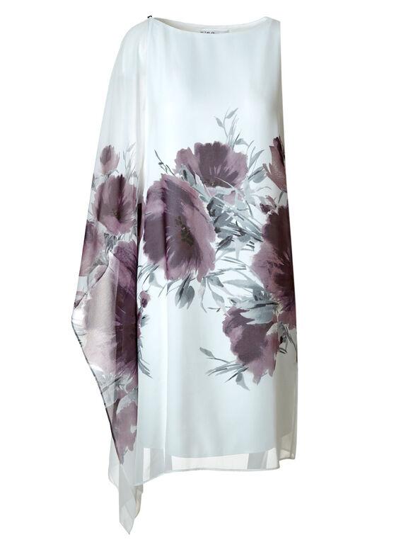 White Floral One Shoulder Dress, Purple, hi-res