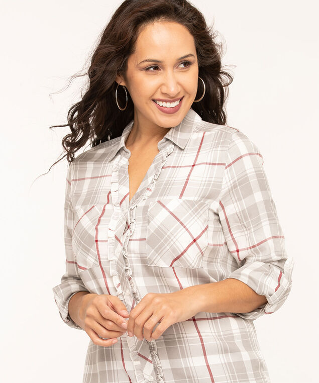 Plaid Ruffled Front Tunic Blouse, Ivory/Light Grey/Wine, hi-res