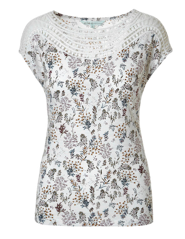 White Print Crochet Neckline Top, White Print, hi-res
