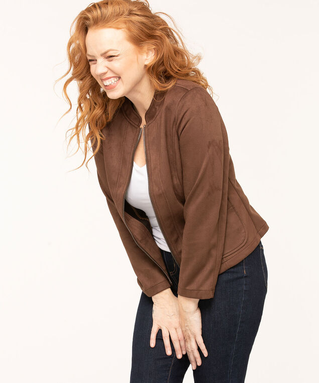 Faux Suede Patch Pocket Jacket, Brown, hi-res