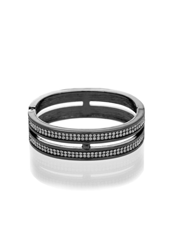 Black Hinge Bracelet, Black, hi-res