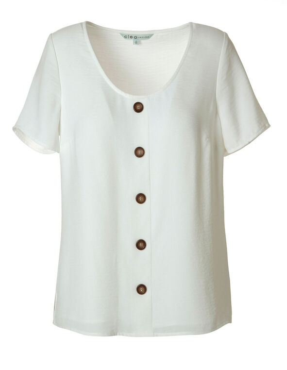 Ivory Wood Button Blouse, Ivory, hi-res