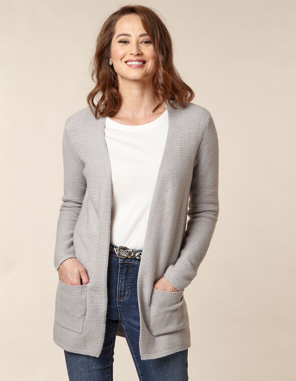 Grey Rib Knit Open Cardigan, Grey, hi-res