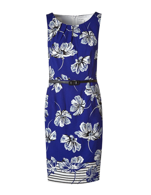 Cobalt Floral Sheath Dress, Cobalt, hi-res
