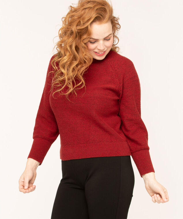 Ruby Raglan Sleeve Sweater, Ruby Red Mix, hi-res
