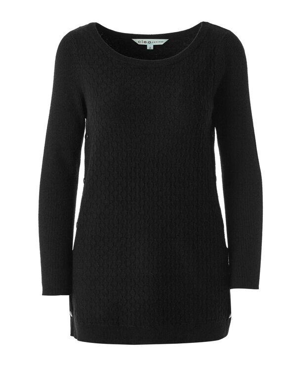 Black Embossed Knit Sweater, Black, hi-res