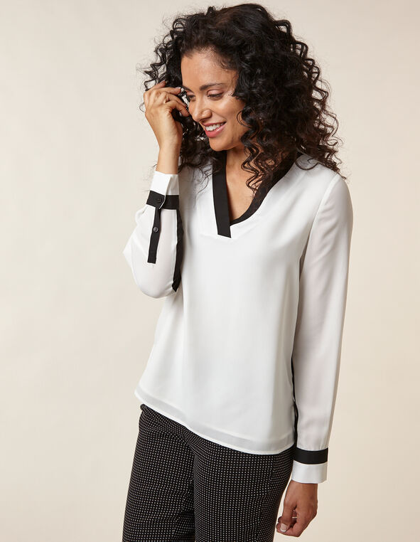 Ivory Colour Block Blouse, Ivory/Black, hi-res