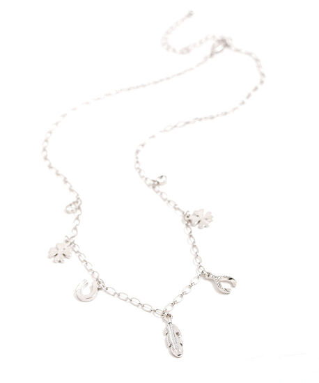 Short Lucky Charm Necklace, Silver, hi-res