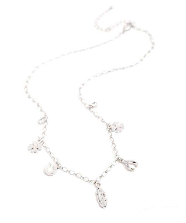 Short Lucky Charm Necklace, Silver