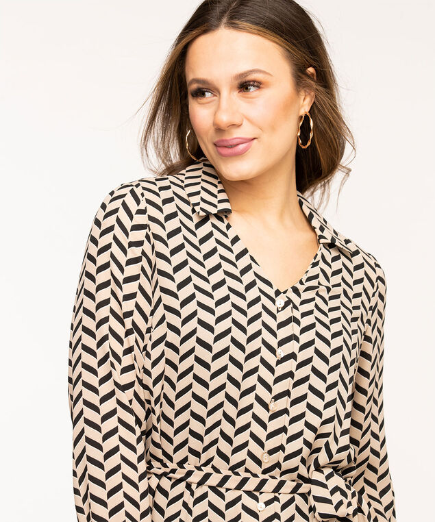 Collared Tie Waist Tunic Blouse, Sand/Black Chevron