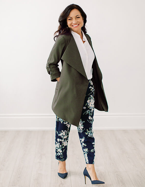 Olive Ruched Sleeve Draped Blazer, Olive, hi-res