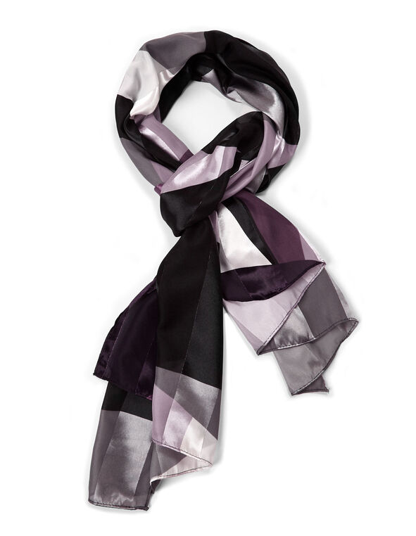 Purple Printed Oblong Scarf, Purple/Black, hi-res
