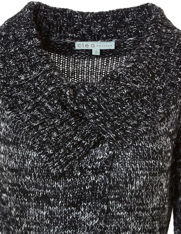 Black Wrap Sweater Coat, Black, hi-res