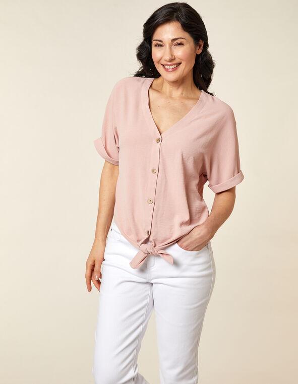 Blush Wood Button Blouse, Pink/Blush, hi-res