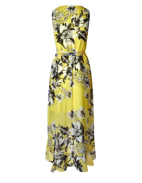 Yellow Floral Chiffon Maxi Dress, Yellow, hi-res