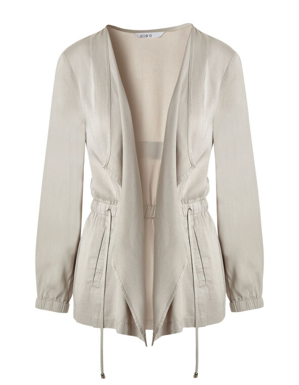 Stone Open Front Jacket, Stone, hi-res