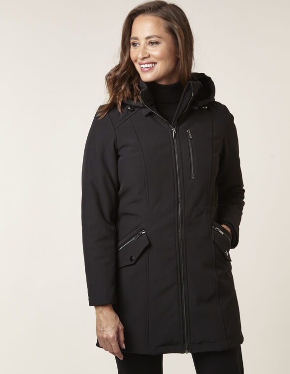 Black Softshell Anorak Coat, Black, hi-res