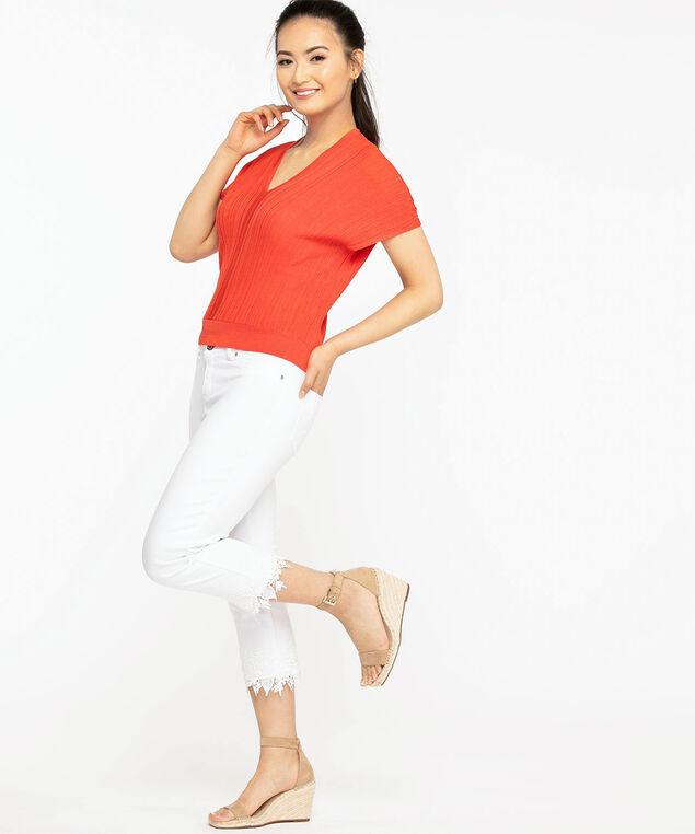 Ribbed Dolman Sleeve Pullover Sweater, Orange