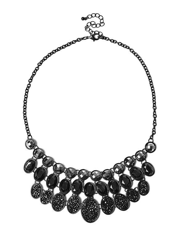 Black Hematite Statement Necklace, Black, hi-res